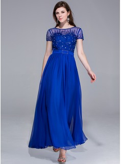 A-Line/Princess Scoop Neck Ankle-Length Chiffon Charmeuse Prom Dress With Beading