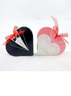 Tuxedo & Gown Heart-shaped Favor Boxes With Ribbons (Set of 6 Pairs)