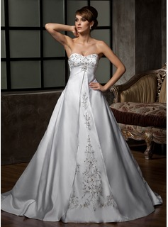 Ball-Gown Sweetheart Chapel Train Satin Wedding Dress With Embroidery Beadwork Sequins (002011397)
