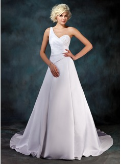 A-Line/Princess One-Shoulder Chapel Train Satin Wedding Dress With Ruffle Beadwork Sequins