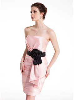 Sheath Sweetheart Short/Mini Taffeta Cocktail Dress With Ruffle Sash Flower(s)