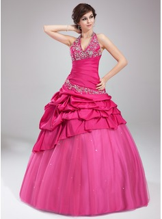 Ball-Gown Halter Floor-Length Taffeta Organza Quinceanera Dress With Embroidered Ruffle Beading
