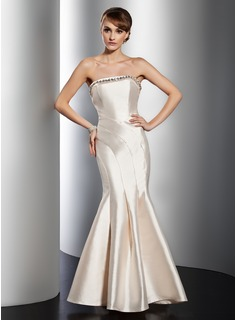 Mermaid Strapless Floor-Length Satin Evening Dress With Beading
