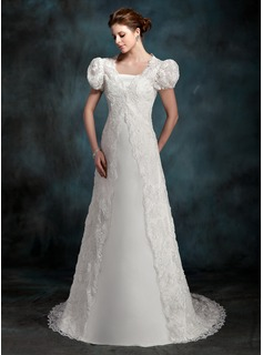 A-Line/Princess Strapless Sweep Train Satin Wedding Dress (002000218)