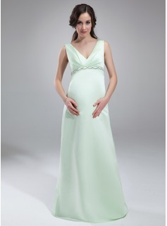 Empire V-neck Floor-Length Satin Maternity Bridesmaid Dress With Ruffle Beading (045020325)