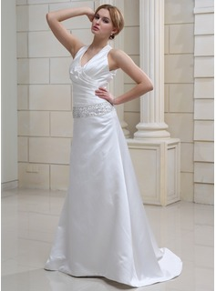 Sheath/Column V-neck Sweep Train Satin Wedding Dress With Ruffle Beadwork Sequins