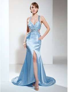 Sheath V-neck Court Train Satin Evening Dress With Ruffle Beading (017017419)