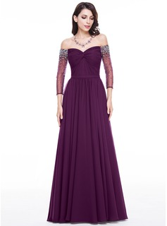 A-Line/Princess Off-the-Shoulder Floor-Length Chiffon Tulle Evening Dress With Ruffle Beading Sequins