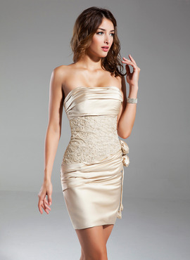 Sheath/Column Strapless Short/Mini Satin Cocktail Dress With Ruffle Lace Flower(s) (016015329)