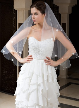 One-tier Fingertip Bridal Veils With Cut Edge/Beaded Edge (006035773)