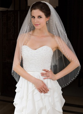 Two-tier Fingertip Bridal Veils With Beaded Edge (006035771)