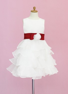 A-Line/Princess Scoop Neck Knee-Length Organza Satin Flower Girl Dress With Sash Flower(s) (010005330)