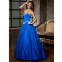 Ball-Gown Sweetheart Floor-Length Satin Tulle Quinceanera Dress With Beading Appliques Lace Sequins (021020808)