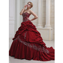 Ball-Gown Sweetheart Royal Train Taffeta Wedding Dress With Embroidery Ruffle Beading (002011490)