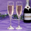 Personalized Heart with Heart Glass Toasting Flutes (Set Of 2)