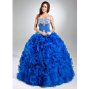 Ball-Gown Strapless Floor-Length Organza Quinceanera Dress With Lace Beading Sequins Cascading Ruffles (021004687)