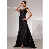Mermaid V-neck Asymmetrical Charmeuse Lace Evening Dress With Beading
