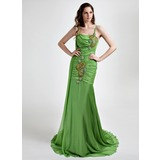 Mermaid Cowl Neck Court Train Chiffon Prom Dress With Ruffle Beading