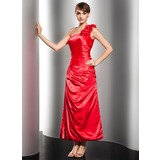 One-Shoulder Ankle-Length Charmeuse Evening Dress With Ruffle (017014552)