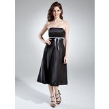Empire Strapless Tea-Length Charmeuse Bridesmaid Dress With Sash Bow(s)