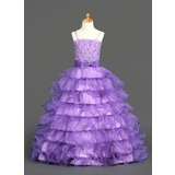 A-Line/Princess Floor-Length Organza Satin Flower Girl Dress With Beading Sequins Cascading Ruffles (010002153)