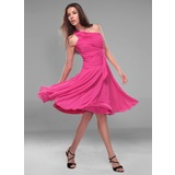 A-Line/Princess One-Shoulder Knee-Length Chiffon Bridesmaid Dress With Ruffle (007020721)