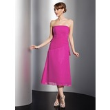 A-Line/Princess Strapless Tea-Length Chiffon Bridesmaid Dress With Ruffle