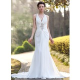 Sheath/Column V-neck Chapel Train Chiffon Wedding Dress With Ruffle Beadwork Sequins (002005012)