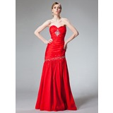 Trumpet/Mermaid Sweetheart Floor-Length Taffeta Evening Dress With Ruffle Beading Sequins
