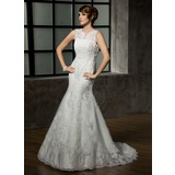 Mermaid V-neck Court Train Satin Tulle Wedding Dress With Lace Beadwork (002011589)