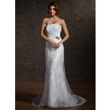Sheath/Column Strapless Court Train Satin Tulle Wedding Dress With Lace Beading Crystal Brooch Bow(s)