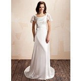 A-Line/Princess Cowl Neck Court Train Charmeuse Lace Wedding Dress With Ruffle