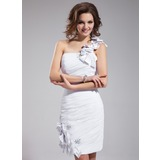 Sheath One-Shoulder Knee-Length Chiffon Prom Dress With Ruffle Lace Beading Flower(s) (018010648)