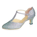 Sparkling Glitter Heels Pumps Modern Ballroom Dance Shoes With T-Strap