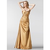 Sheath Sweetheart Floor-Length Charmeuse Evening Dress With Ruffle Beading (017002266)