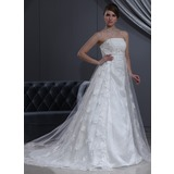 Empire Strapless Court Train Tulle Charmeuse Wedding Dress With Lace Beadwork (002000267)