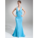 Mermaid V-neck Watteau Train Chiffon Satin Bridesmaid Dress With Ruffle