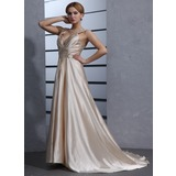 A-Line/Princess V-neck Court Train Charmeuse Wedding Dress With Ruffle Beading Appliques Lace Sequins