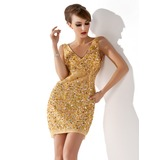 Sheath V-neck Short/Mini Tulle Cocktail Dress With Beading