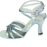 Women's Fabric Patent Leather Heels Sandals Latin Salsa Dance Shoes