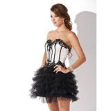 A-Line/Princess Sweetheart Short/Mini Satin Tulle Cocktail Dress With Lace Beading Sequins