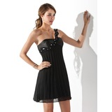Empire One-Shoulder Short/Mini Chiffon Charmeuse Cocktail Dress With Lace Beading Pleated