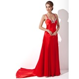 Sheath Sweetheart Watteau Train Charmeuse Holiday Dress With Beading Appliques