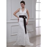 Sheath/Column Halter Sweep Train Satin Lace Wedding Dress With Sashes Crystal Brooch (002000430)