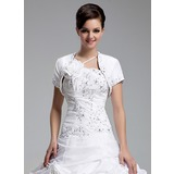 Jackets/Wraps Wedding Taffeta Beading Wraps With Short Sleeve (013022579)