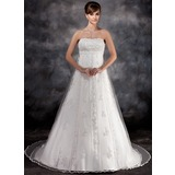Empire Strapless Watteau Train Tulle Charmeuse Wedding Dress With Lace Beading