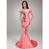 Trumpet/Mermaid Off-the-Shoulder Sweep Train Satin Prom Dress With Beading Appliques Sequins