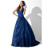 Ball-Gown Halter Sweep Train Taffeta Prom Dress With Ruffle Beading