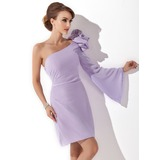 Sheath/Column One-Shoulder Short/Mini Chiffon Cocktail Dress With Flower(s)