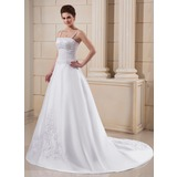 A-Line/Princess Chapel Train Satin Wedding Dress With Embroidery Beadwork (002006372)